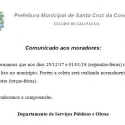 COMUNICADO COLETA LIXO NATAL E REVEILLON