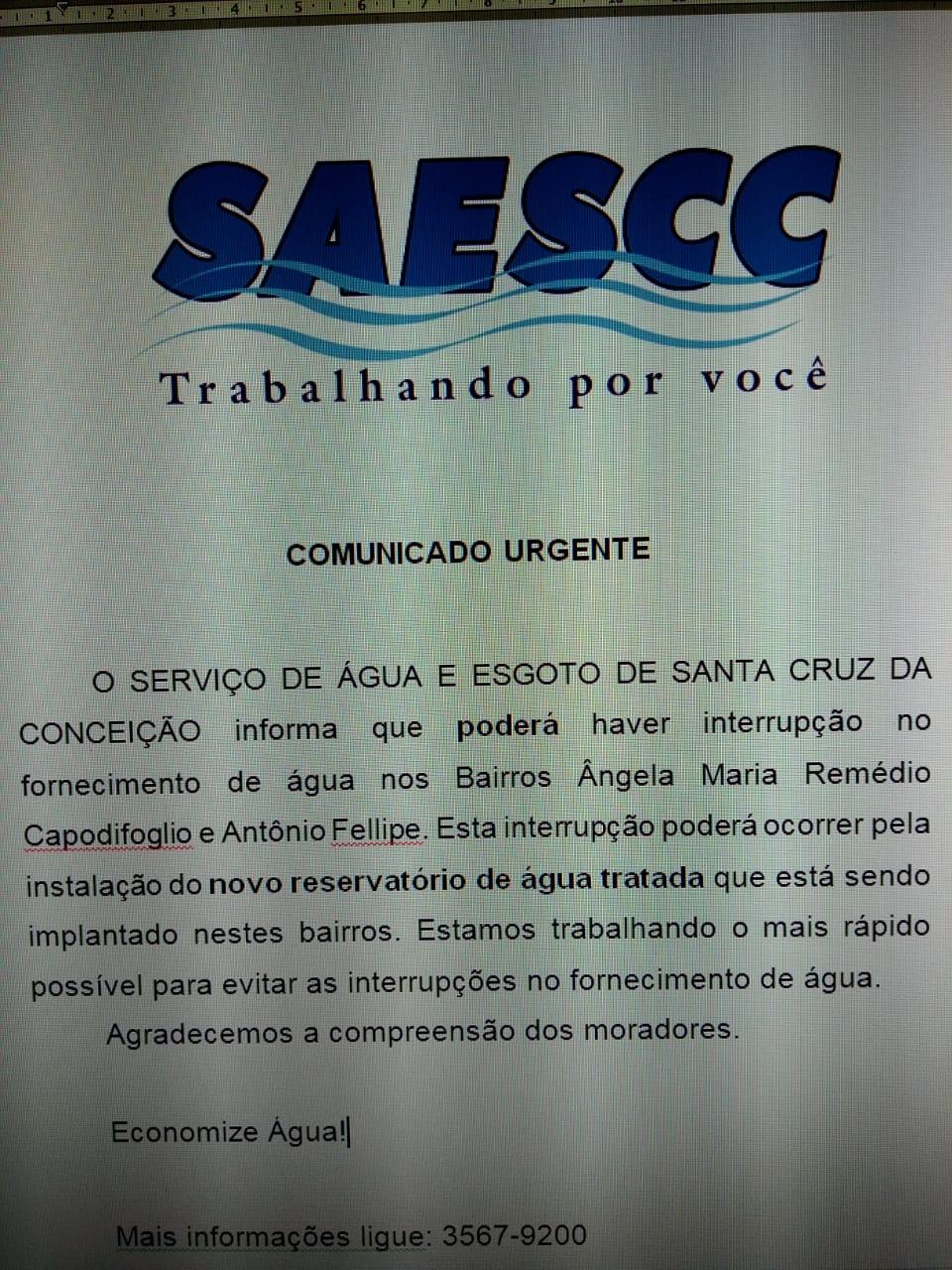 comunicado SAESCC